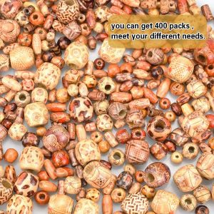 cuentas de madera estampadas para macramé