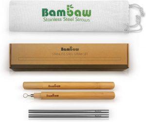 Set de 4 pajitas de acero inoxidable con cepillo limpiador y estuche de bambú | Bambaw